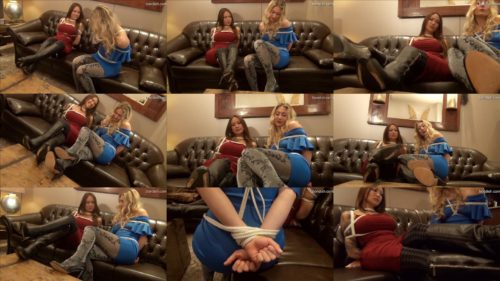 Can't stop chatting!– Gossip girls in bondage -Larissa and Kim are roped and lashed up with ropes