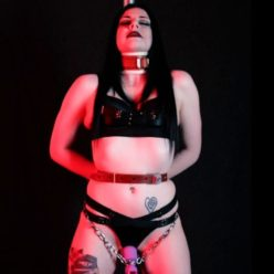 Elle Venom is tied and vibed - Bondage Stand - Chain bondage