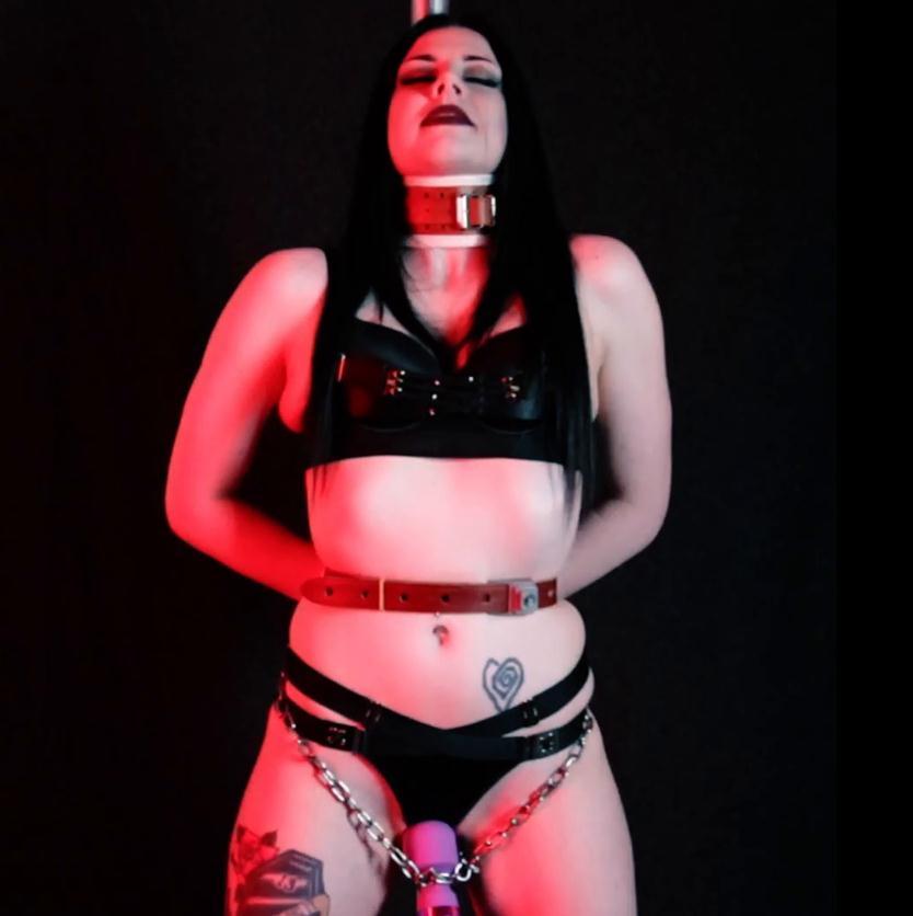 Elle Venom is tied and vibed - Bondage Stand - Chain bondage