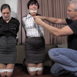 Rope bondage - Riley Rose and Dixie Comet are struggling bound and gagged GNDB0417 – Aren't you suppose to tie us up! - Strict bondage
