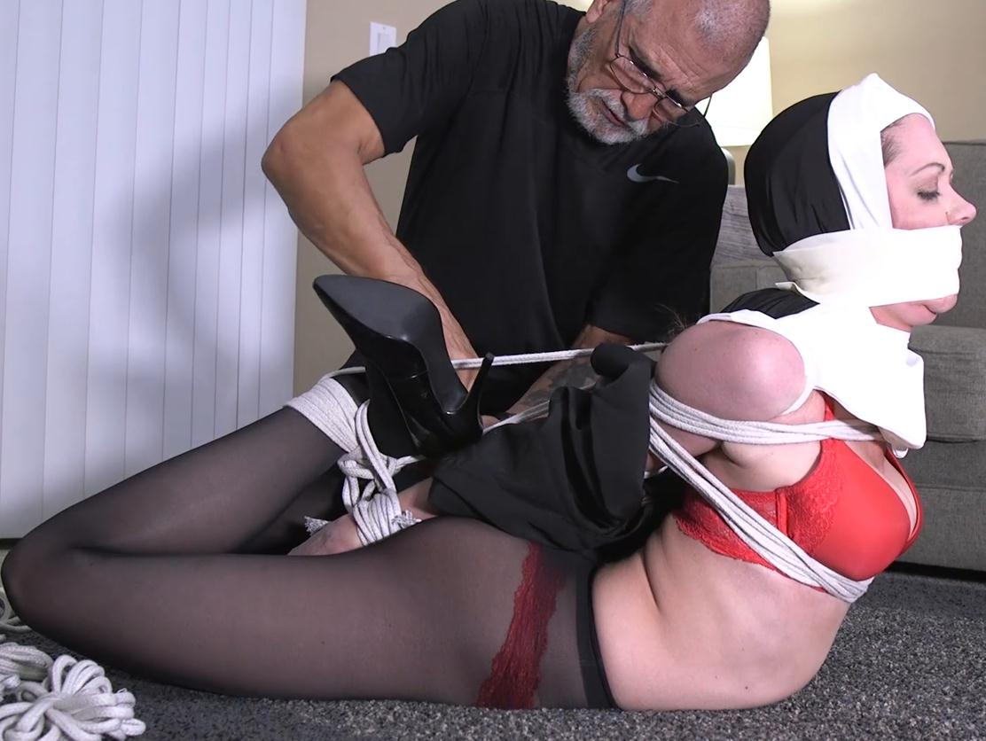 Chrissy Marie GNDB1038 – Nun is roped up and gagged! - Rope bondage - Struggle