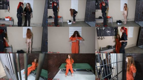 Prisonteens - Car Thieves  - Officer Jackie is arrested and handcuffed in jumpsuit - Part 2 of 3 - Prison bondage