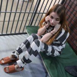 Handcuffs bondage - Jackie Jupiters is arrested for stealing food part 3 of 3 - Metal bondage