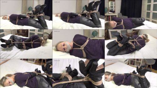Rope bondage - Maggie is tightly bound and gagged and a huge mouth filling pantyhosegag