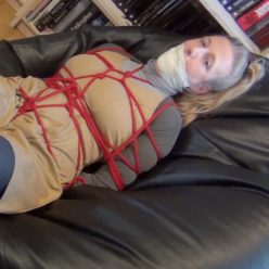 Bondish - Grounded secretary Dina is bound and gagged with a ballgag and microfoam tape - Extra tight bondage