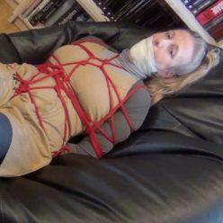 Bondish - Grounded secretary Dina is bound and gagged with a ballgag and microfoam tape - Extra tight bondage
