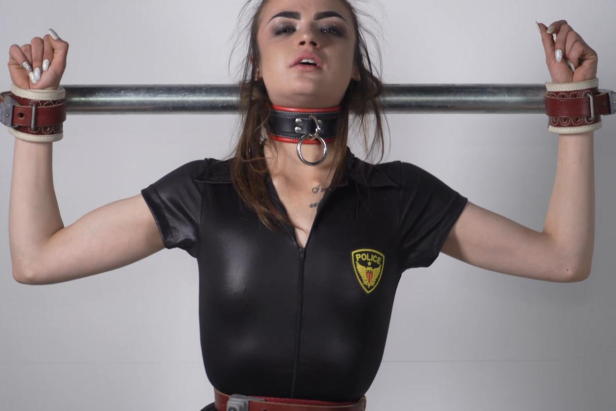 Handcuffs bondage - Abby strap her in tightly to on the bondage platform with a vibrator - Extreme bondage