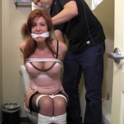 Rope bondage - Cheeky Little Toy is tying up and gagging - gndbondage GNDB0490 – Cheating wife is tied up in the bathroom