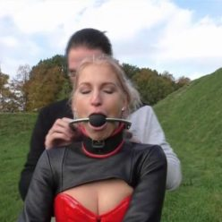 Leather bondage - Arienh tests leather straightjacket and a chic ball gag