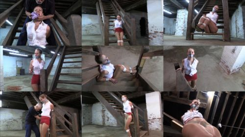 Rope bondage - Madalynn Raye GNDB1034 – Madalynn  is tied up tightly, gagged and stashed in the basement