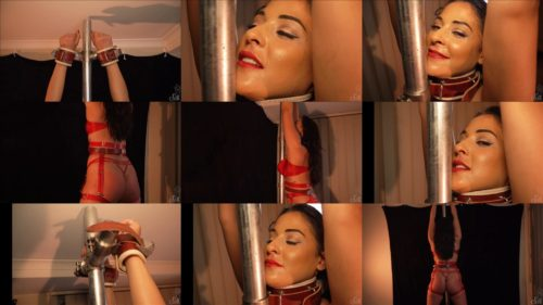 Ruby Lulu is flogged on the bondage frame - Showsomerestraint - She is tightly bound to the bondage stand