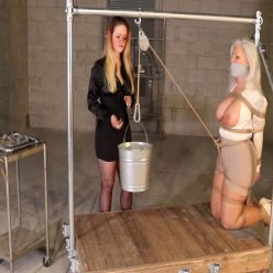 Induction to slavedom - Crotch rope weight endurance for milf - Sandra Silvers is bound and tight wrapping of vetwrap- In a steel device bondage predicament!