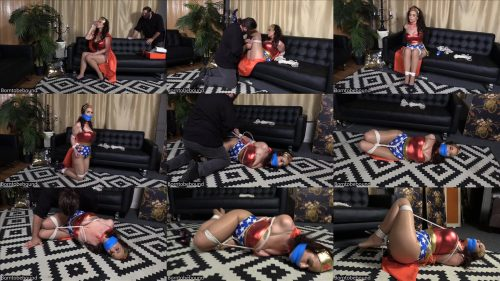 Rope bonage - JJ Plush bondage - High heels rendered her helpless - Wonder JJ is tied up tightly with blue vetwrap