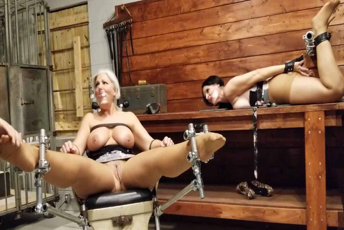 Burden of bondage - MILFs are strapped to medical chair and table top in workshop -Intense bondage orgasms! - Cuffs bondage
