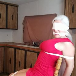 Rope bondage - Milf Sandra Silvers is tied strictly to a chair with cotton rope - Strict bondage