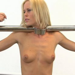 Metal bondage -Heavy Metal Stocks - Chastity Belt - Girl is locked with metal stocks,chanisty belt and collar