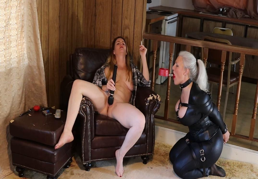 Leather bondage - Sandra SIlvers is gagged with a red leather gag and leather O ring collarby her Mistress Lisa Harlotte. – Human Ashtray Obedience Test! - Forniphilia