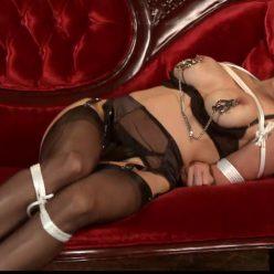 Julia Faire Bondage Cafe – Struggle-icious sheer chocolate sundae and crotch rope into the bondage - Rope bondage