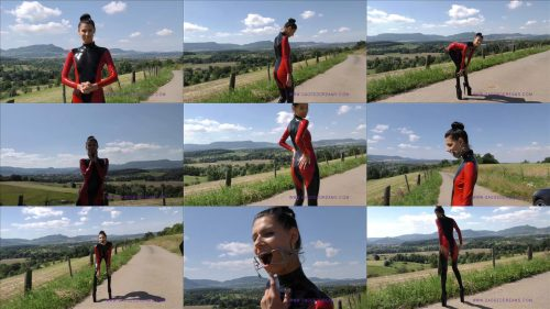 Bagira in public – Gagged tall girl - Sexy slim girl she try out the gag in public