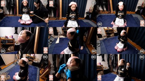 Face humiliation - Japanese PVC maid gets ted and rorced to wear panties on her head with a nose hook - Rope bondage