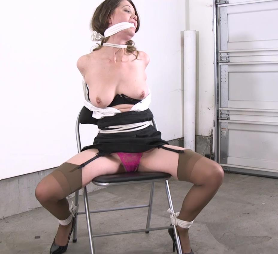 Chrissy Marie is tied up and gagged in the trunk of someone's car! Chrissy is punished - ties rope around her neck gndbondage