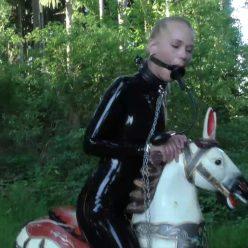 Rope bondage - Pony Girl Darina Nikitina hard gagged and cuffed - Strict bondage