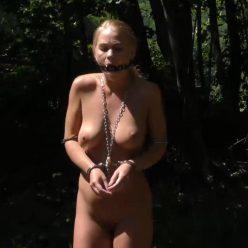 Hard bondage - Darina Nikitina is hooked, cuffed, gagged - Handcuffs bondage