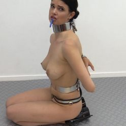 Metal bondage - Yasmine is back! - Slave weared chastity belt,metal collar,cuffs for bondage playing