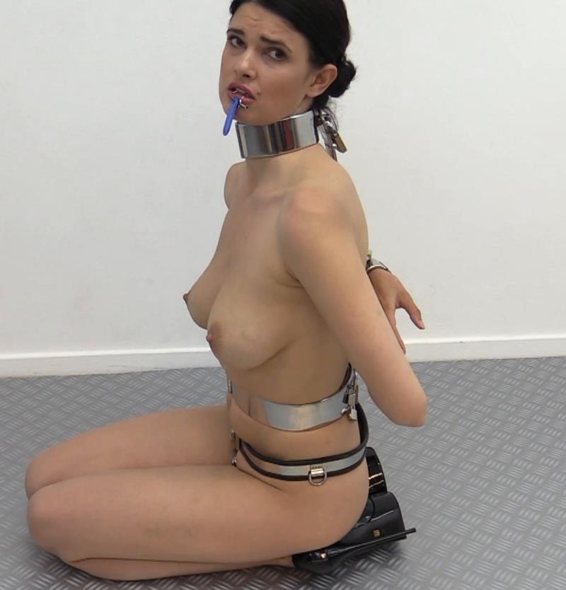 Metal bondage - Yasmine is back! - Slave weared chastity belt,metal collar,cuffs for bondage playing