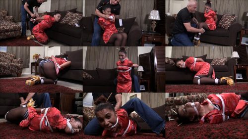 Rope bondage - Latina massage therapist Sahrye is crotch roped, hogtied and gagged - Extreme bondage - Mouth stuffing