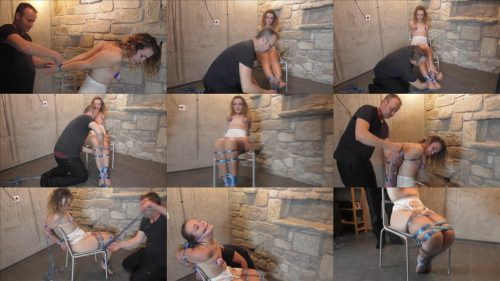 Extreme bondage - Diamondly is bound with painful rope - Xtremely -tight hard chair tied and tortured in blue twine - Rope bondage - Tight rope