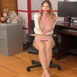 Captivating Fantasies – Part One – Leah Lee's cleavegagged and tied up to chair - Office Bondage