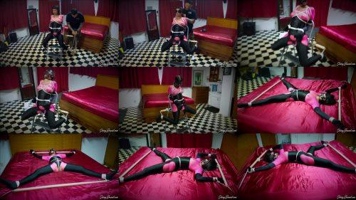 Rope bondage - Sakura is  tied spread eagle on the bed - The Pink Prisoner -  Asian Bondage