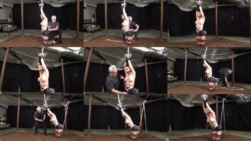 Rope bondage - Raven is kneeling  and arms up - Lewrubensproductions -  Nice classic - Stress a bondage model endures on - Extreme bondage