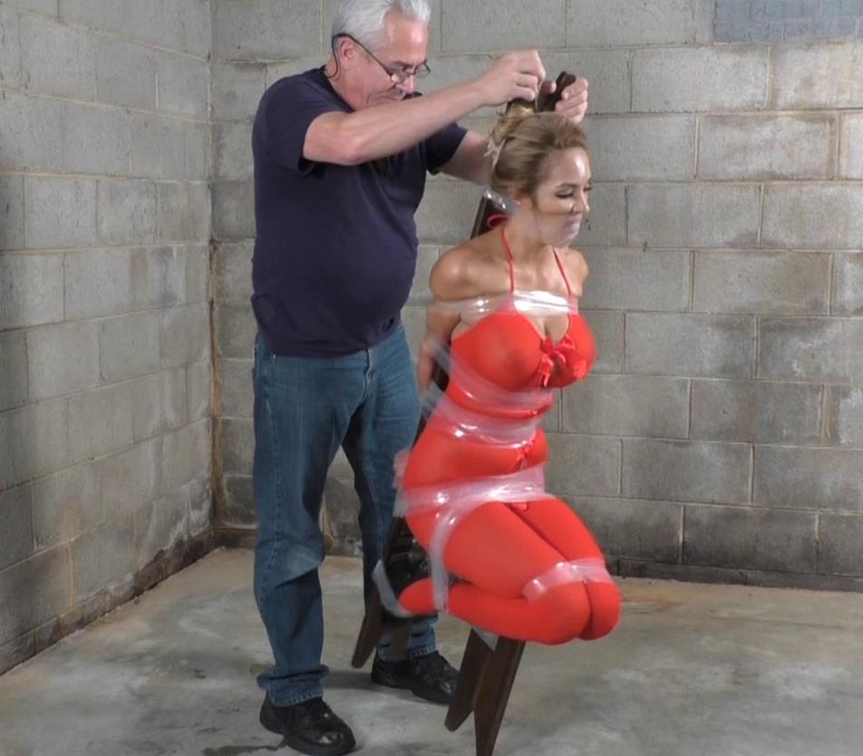 Tape bondage - Lucy Taped To The Tippy Chair - Lewrubens Bondage - It's tight - Extreme bondage