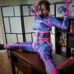 Rope bondage - Samantha Grace is bound very tightly to the table - The Mantle Piece - Cosplay Bondage -Bondage play with the extra tight crotch rope and panel gag