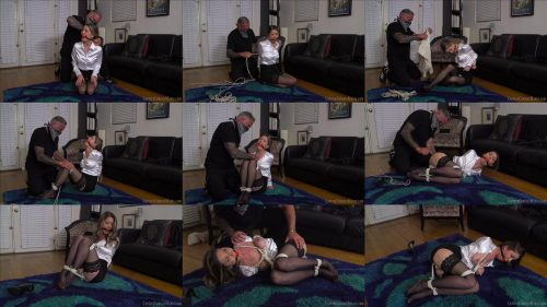 Rope Bondage - Captive Chrissy Marie is ball tied and left helplessly struggling in her humiliating predicament -  The Wrong Woman