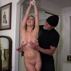 Rope bondage - Chrissy Marie is bound and arms stretched overhead - Humiliating Home Invasion - Girl is so helpless and humiliated