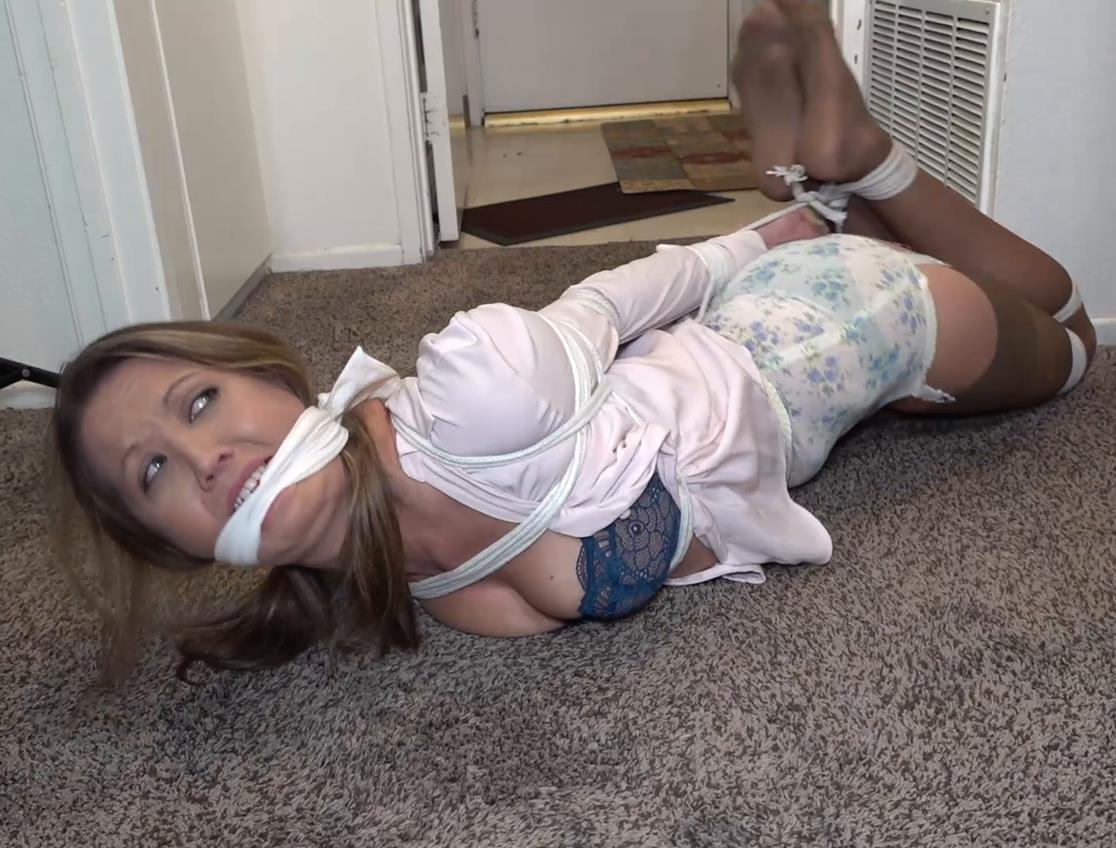 Rope Bondage - Chrissy Marie struggles with the ropes gndbondage – Trying to hop away got me hogtied in my girdle! GNDB0464
