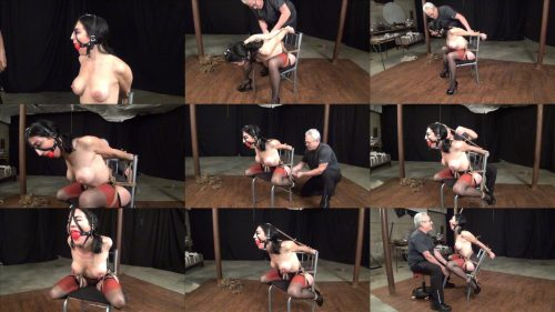 Rope Bondage - Raven Eve is bound extremly in chair with rope- Extreme Chair Tie
