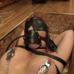 Leather bondage with leather cuffs and leather pump gag - Sarah Brooke is trunked a John Willie Tribute – Lewrubensproductions - Many unique and original ideas for extreme bondage