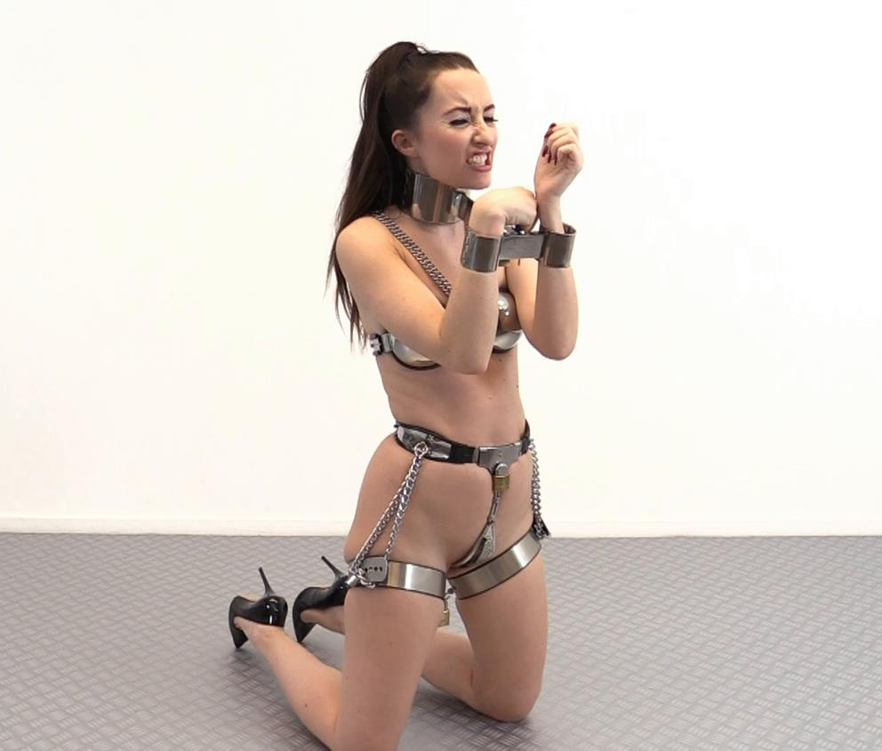 Fiddle with Chastity Belt and Chastity Bra - Sophia Smith is locked in full chastity