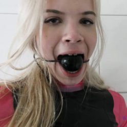 Gaggeddreams - Pink Blonde Vanessa wearing a ball gag - Drooling