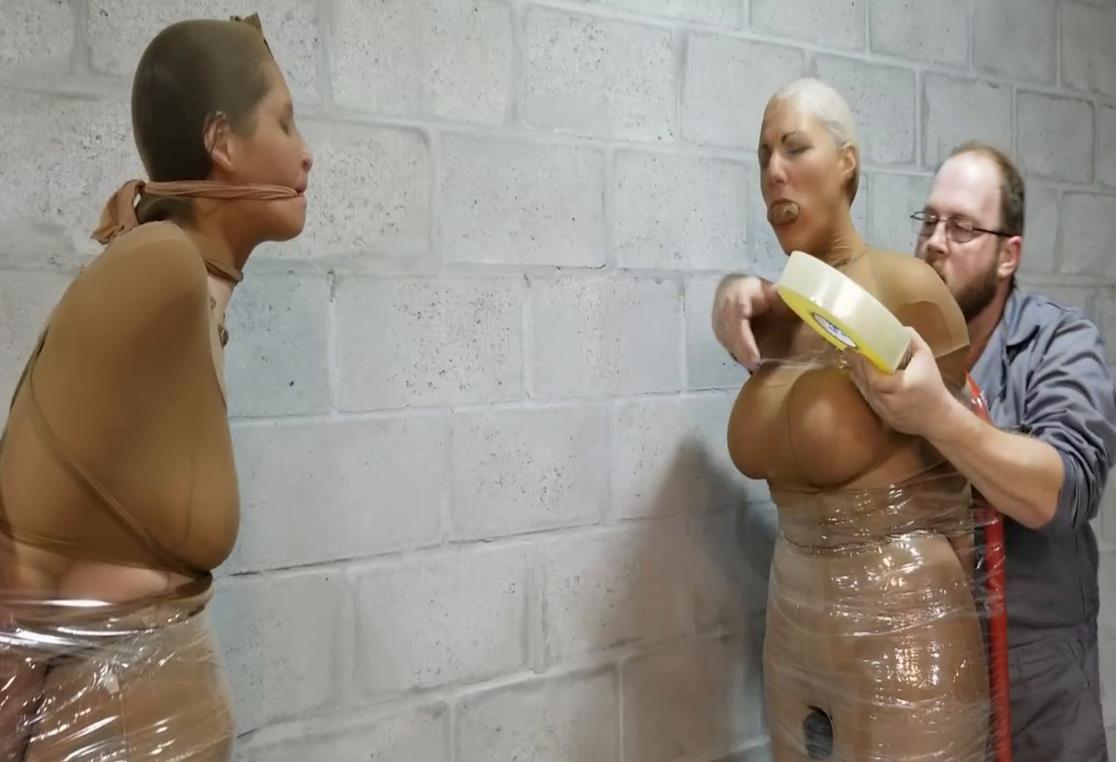 Bondage Predicament - 2472 Sandra Silvers and Christina are Completely Mummified MILFs! - More pantyhose have been used to stretch for mummifcation - Tape Bondage