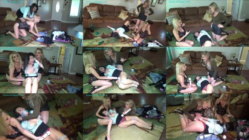 Female bondage - Blonde bimbos gang up on the landlord - Whitney Morgan is helplessly bound, gagged and humiliated