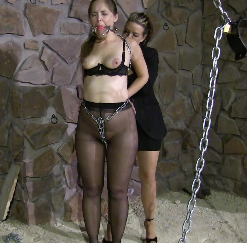 Metal Bondage - Rachel Adams is gag changed to stuffing and wrapped - In the dungeon part 2 of 3