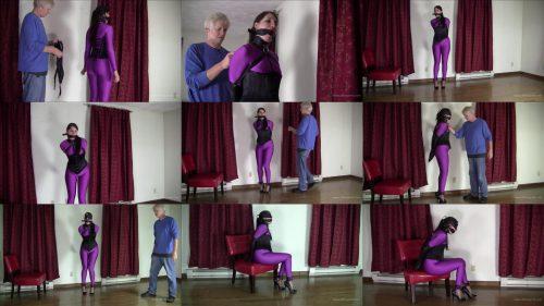 Paige Erin Turner Bondage – Purple Catsuit and Leather Armbinder - Leather Bondage