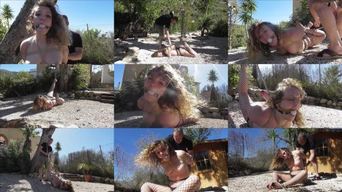Xtremely-tight Bondage - Diamondly suspended in the backyard -Part 2  - Outdoor bondage - Painful coconut rope