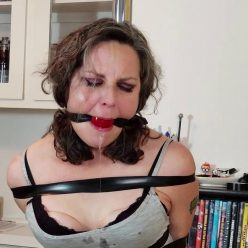 Tape Bondage - Genevieve taped to a pole with brutally tight tape cleave gag - Won't Drool Over Our Daughter's Friends Anymore