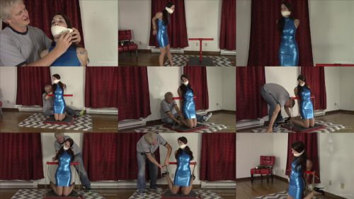 Nichole Skye is Tied to a Pole and mouth packed and microfoam gagged – Form Fitting Blue Latex